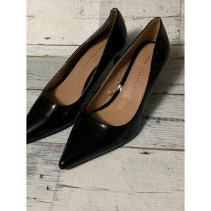 zara trafaluc black patent heels kitten classic flaw